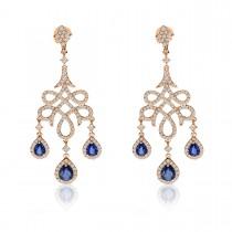Blue Sapphire & Diamond Chandelier Earrings 14k Rose Gold (2.66ct)