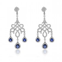 Blue Sapphire & Diamond Chandelier Earrings 14k White Gold (2.66ct)