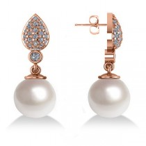 Freshwater Pearl & Diamond Dangling Earrings 14k Rose Gold 10mm (0.50ct)
