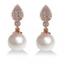 Freshwater Pearl & Diamond Dangling Earrings 14k Rose Gold 10mm (0.50ct)