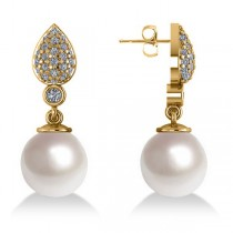 Freshwater Pearl & Diamond Dangling Earrings 14k Yellow Gold 10mm (0.50ct)