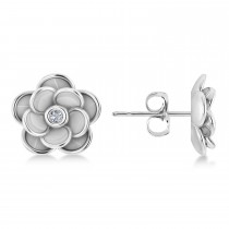 Diamond Round Flower Earrings 14k White Gold (0.03ct)