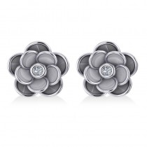Diamond Round Flower Earrings 14k White Gold (0.03ct)