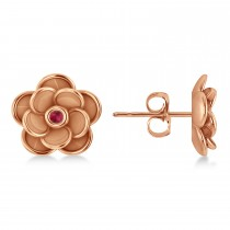 Ruby Round Flower Earrings 14k Rose Gold (0.06ct)