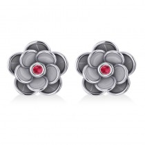 Ruby Round Flower Earrings 14k White Gold (0.06ct)