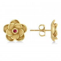 Ruby Round Flower Earrings 14k Yellow Gold (0.06ct)