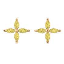 Yellow Diamond Marquise Stud Earrings 14k Rose Gold (1.00 ctw)