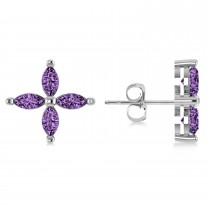 Amethyst Marquise Stud Earrings 14k White Gold (1.20 ctw)
