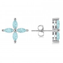 Aquamarine Marquise Stud Earrings 14k White Gold (1.12 ctw)