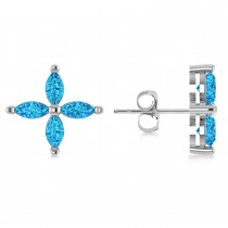 Blue Topaz Marquise Stud Earrings 14k White Gold (1.36 ctw)
