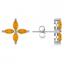 Citrine  Marquise Stud Earrings 14k White Gold (1.04 ctw)