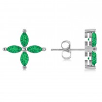 Emerald Marquise Stud Earrings 14k White Gold (1.52 ctw)