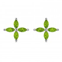 Peridot Marquise Stud Earrings 14k White Gold (1.36 ctw)