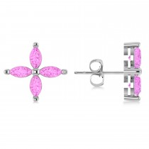 Pink Sapphire Marquise Stud Earrings 14k White Gold (1.92 ctw)