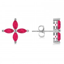 Ruby Marquise Stud Earrings 14k White Gold (1.92 ctw)