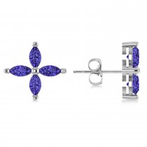 Tanzanite Marquise Stud Earrings 14k White Gold (1.20 ctw)