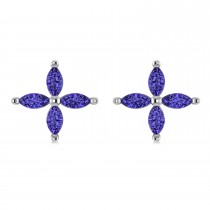 Tanzanite Marquise Stud Earrings 14k White Gold  (1.20 ctw)|escape