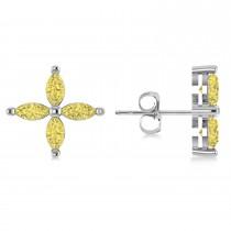 Yellow Diamond Marquise Stud Earrings 14k White Gold