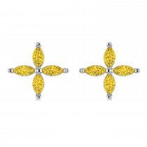 Yellow Saphhire Marquise Stud Earrings 14k White Gold (1.92 ctw)