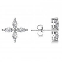 Diamond Marquise Stud Earrings 14k White Gold (1.44 ctw)