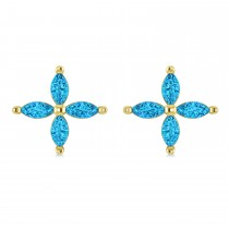 Blue Topaz Marquise Stud Earrings 14k Yellow Gold (1.36 ctw)