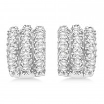 Diamond Cluster Huggie Earrings in 14k White Gold (3.00 ctw)