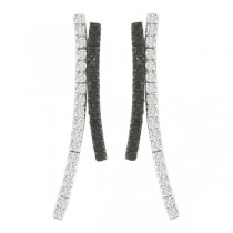 Black & White Diamond Earrings in 14k White Gold (0.84 ctw)