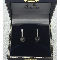 Black & White Diamond Puffed Heart Earrings in 14k White Gold (0.84 ctw)