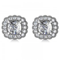Floral Halo Cushion Cut Diamond Earrings 14k White Gold (3.52ct)