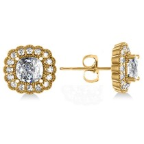 Floral Halo Cushion Cut Diamond Earrings 14k Yellow Gold (3.52ct)
