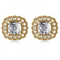 Floral Halo Cushion Cut Diamond Earrings 14k Yellow Gold (3.52ct)
