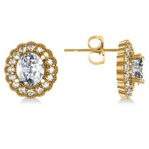 Diamond Floral Oval Halo Earrings 14k Yellow Gold (4.96ct)