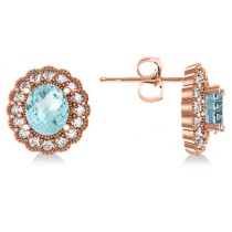 Aquamarine & Diamond Floral Oval Earrings 14k Rose Gold (5.96ct)