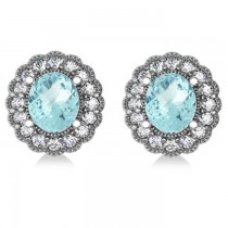 Aquamarine & Diamond Floral Oval Earrings 14k White Gold (5.96ct)