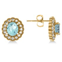 Aquamarine & Diamond Floral Oval Earrings 14k Yellow Gold (5.96ct)