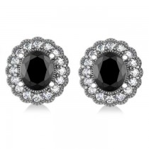 Black Diamond & Diamond Floral Oval Earrings 14k White Gold (4.68ct)