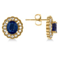 Blue Sapphire & Diamond Floral Oval Earrings 14k Yellow Gold (5.96ct)