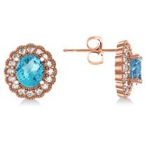 Blue Topaz & Diamond Floral Oval Earrings 14k Rose Gold (5.96ct)