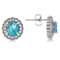 Blue Topaz & Diamond Floral Oval Earrings 14k White Gold (5.96ct)