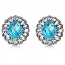 Blue Topaz & Diamond Floral Oval Earrings 14k White Gold (5.96ct)|escape
