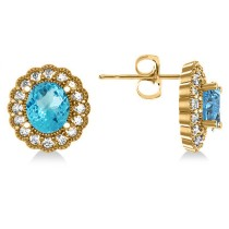 Blue Topaz & Diamond Floral Oval Earrings 14k Yellow Gold (5.96ct)