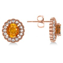 Citrine & Diamond Floral Oval Earrings 14k Rose Gold (5.96ct)