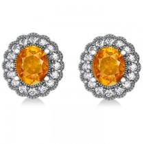 Citrine & Diamond Floral Oval Earrings 14k White Gold (5.96ct)