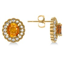 Citrine & Diamond Floral Oval Earrings 14k Yellow Gold (5.96ct)
