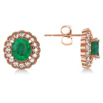 Emerald & Diamond Floral Oval Earrings 14k Rose Gold (5.96ct)