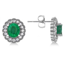 Emerald & Diamond Floral Oval Earrings 14k White Gold (5.96ct)