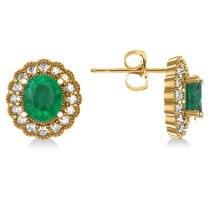 Emerald & Diamond Floral Oval Earrings 14k Yellow Gold (5.96ct)