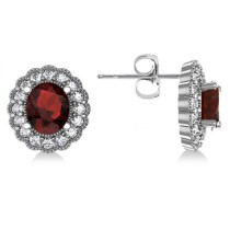 Garnet & Diamond Floral Oval Earrings 14k White Gold (5.96ct)