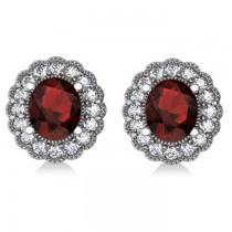 Garnet & Diamond Floral Oval Earrings 14k White Gold (5.96ct)