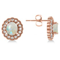 Opal & Diamond Floral Oval Earrings 14k Rose Gold (5.96ct)